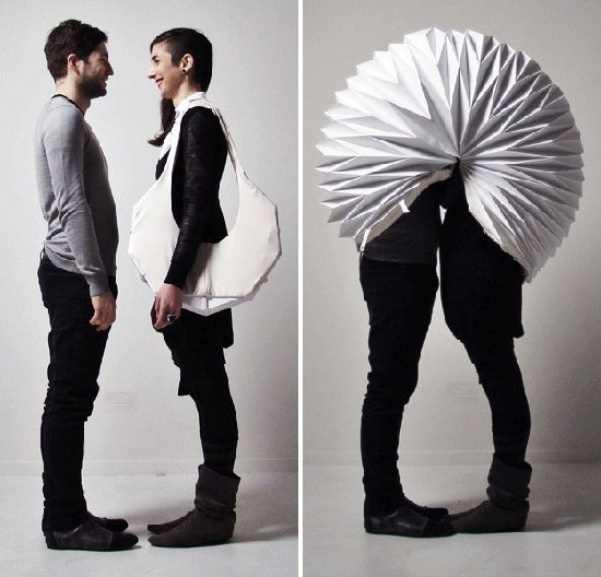 "So you can make out in public: ""Accordion-like 'privacy shell' is a papercraft cone of silence"": Pda Clip, Kiss, Shells, Public Spaces, Byu Pda, Get Smart, Paper Rocks, Accessories, Products"