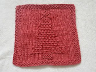 Knitted Christmas Tree Dishcloth
