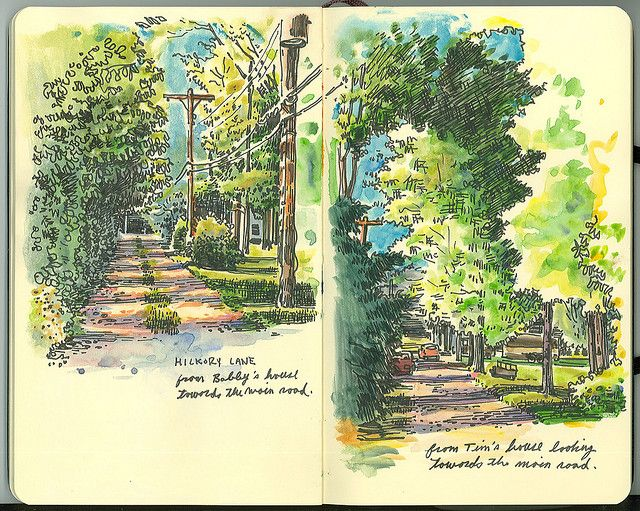 Scenic sketch and watercolor