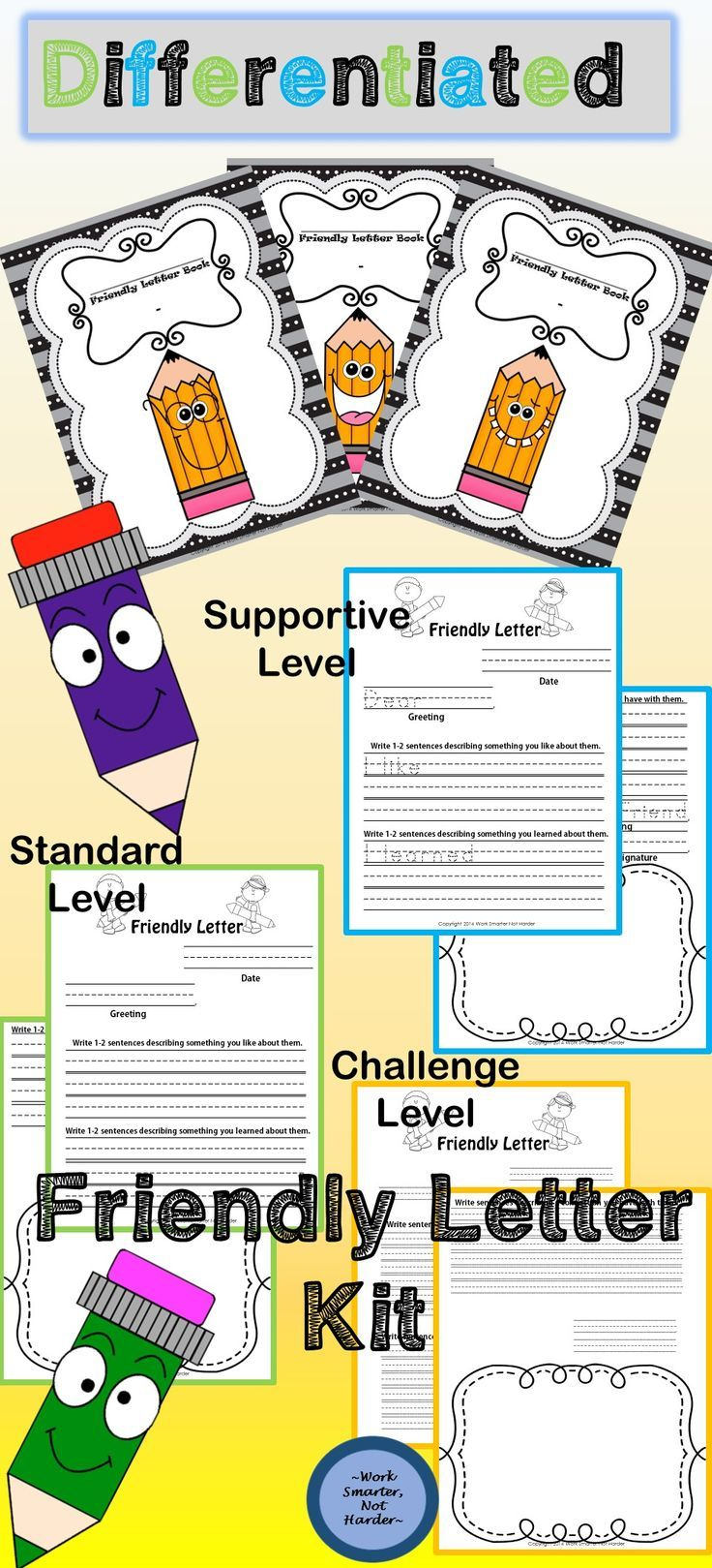 Friendly Letter Writing instantly captures the interest of young writers! Meet them at their individual levels with 3 Different formats- supportive, standard, and challenging. Purposeful Weekly Writing within a structured, repetitive format!!