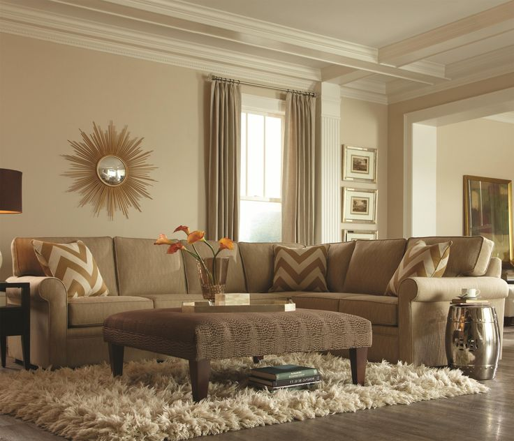Rowe Brentwood Transitional L Shaped Sectional With Rolled Arms Hudson 39 S Furniture Sofa