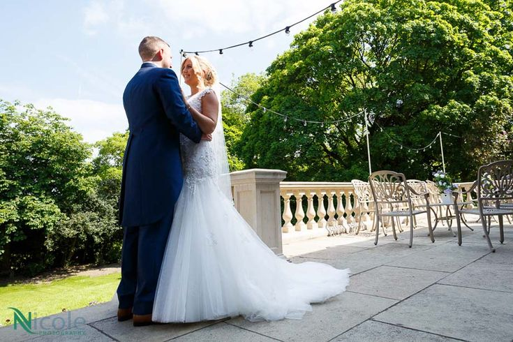 Gorgeous shot on our terrace, thanks to Nicole Photography. Ashfield House Exclusive Wedding Venue Lancashire