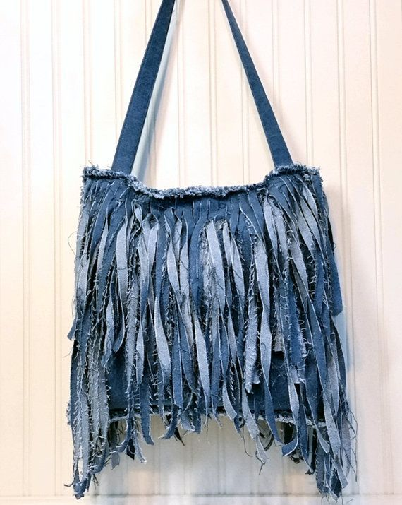 Denim Fringe Purse Handmade from Recycled Blue Jean Denim, Shabby Chic Single Strap Cross Body Style with Long Fringe: