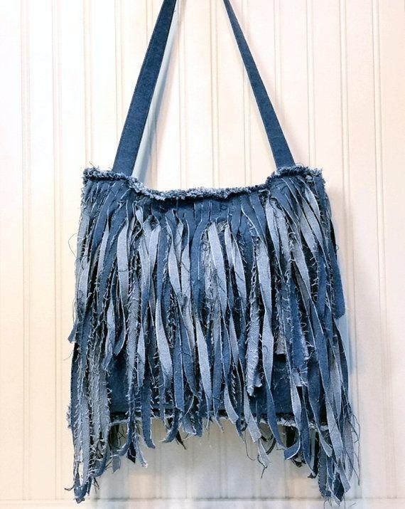 Denim Fringe Purse Handmade from Recycled Blue Jean Denim, Shabby Chic Single Strap Cross Body Style with Long Fringe