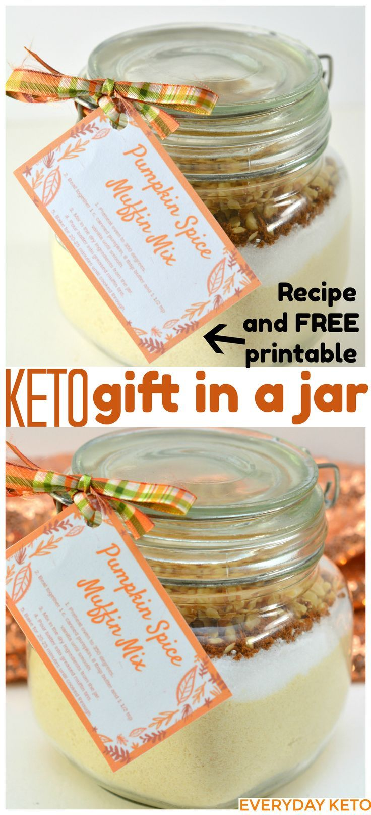 This Keto Gift In A Jar Makes Perfect Idea Your Friends And Family Will Love Pumpkin Spice Muffin Mix Ketogift Giftinajar
