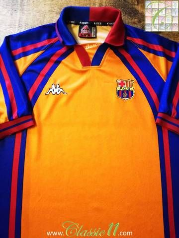 233da4b38 Official Kappa Barcelona European away football shirt from the 1997 1998  season.
