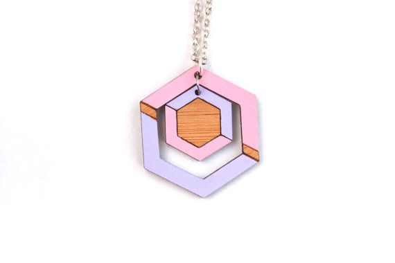 Hexagon Necklace - Geometric Necklace - Modern Wood Necklace