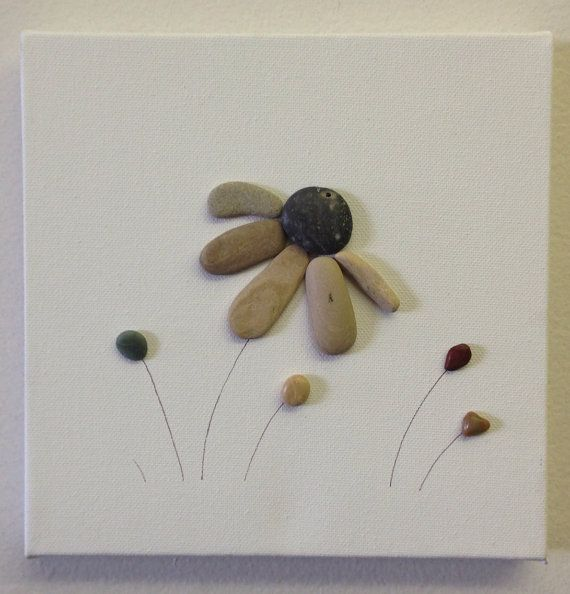 Beach Stone Artwork/ Pebble Art/ Canvas by EmilysNatureEmporium                                                                                                                                                                                 More