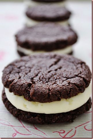 Chocolate sandwich cookies - making these with peanut butter frosting filling.