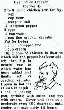 Oven-fried chicken recipe (1939)