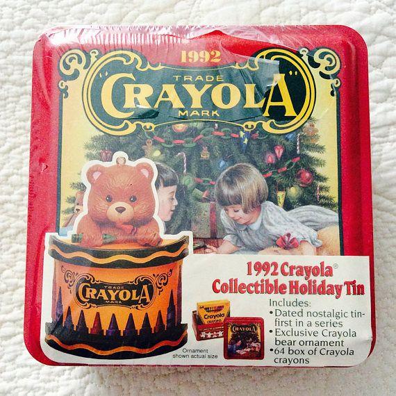 Crayola Crayon Tin Box with Crayons Inside 1992 New Christmas
