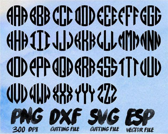 Circle Monogram Alphabet  Clipart  SVG Cutting  ESP Vectors