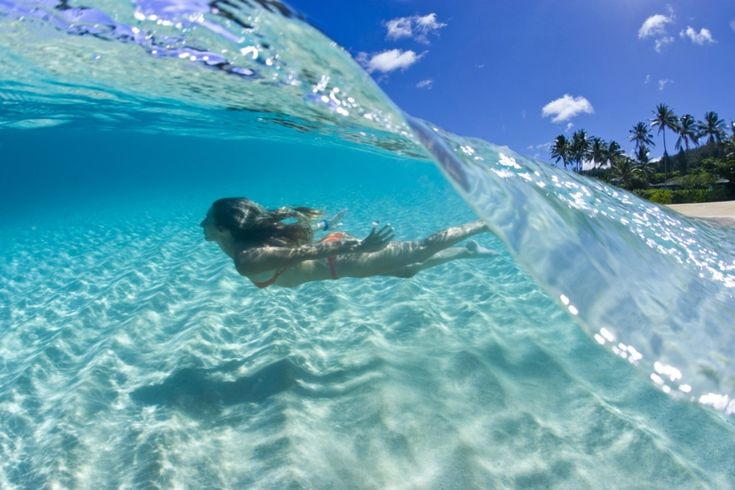 Swimming just beneath a beautifully breaking Caribbean wave!