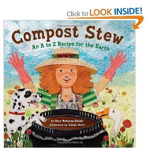 """""""Compost Stew"""" is a rhyming picture book with a lot going for it! The illustrations are bright collages of recyclined materials, it teaches kids about composting to improve soil and it's also an alphabet book. Wow! This would be a fun go-along book to pair up with a gardening craft."""