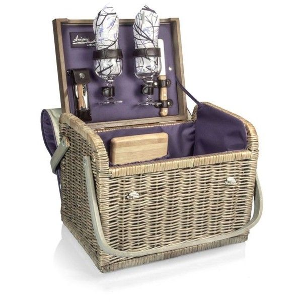 Picnic Time Purplebrown Kabrio Aviano Picnic Basket (150 CAD) ❤ liked on Polyvore featuring home, kitchen & dining, food storage containers, picnic hamper, picnic basket, picnic time picnic basket and picnic tote