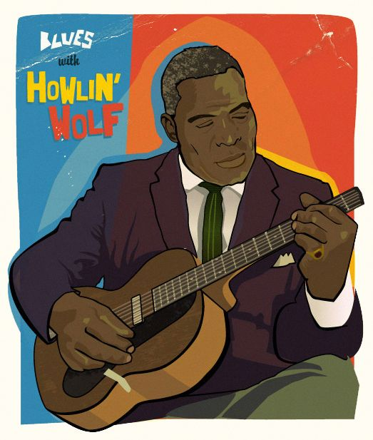 Howlin' Wolf, vector illustration