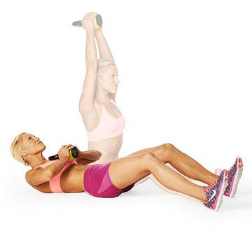 Target your shoulders and abs with the Press It Up kettlebell exercise.