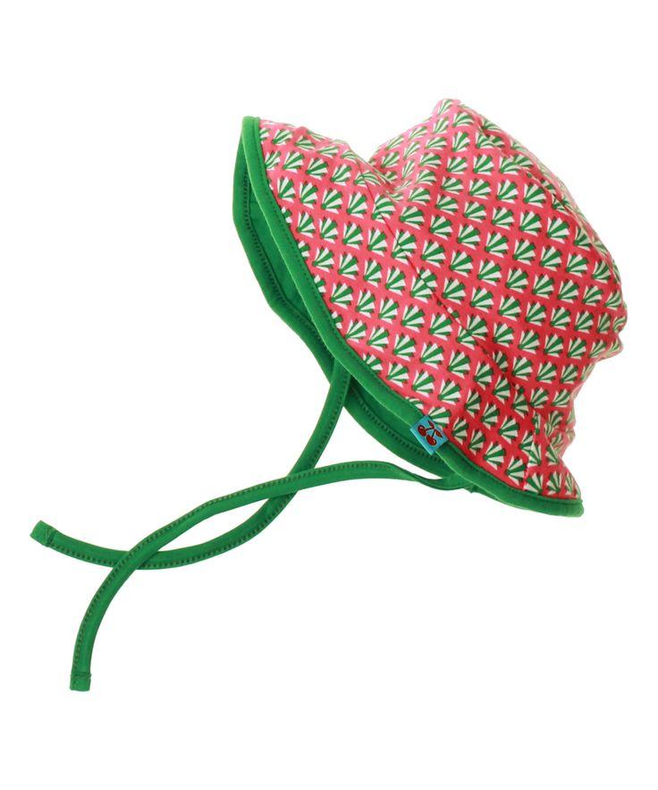 Froy & Dind omkeerbare zomerhoed in roos en groene retroprint. froy-en-dind.nl.emilea.be