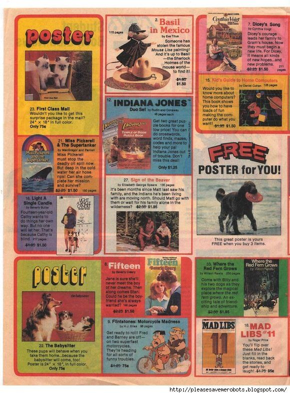 scholastic book club flyers 1980s