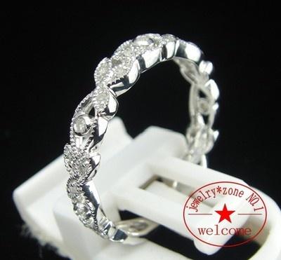 DIAMOND ART WEDDING BAND VINTAGE ESTATE SOLID 10K WHITE GOLD RING | eBay