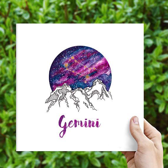 Gemini Zodiac Watercolour Painting