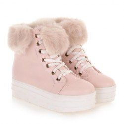 $18.40 Sweet Women's Short Boots With Solid Color and Faux Fur Design