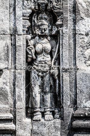 The relief at Hindu temple Prambanan. Indonesia, Java, Yogyakarta