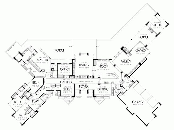 Marvelous Prairie Home Floor Plans #10: Main Floor Plan Of Mascord Plan 1412 - The Harrisburg - Prairie Home With  Multiple Wings And Attached Studio When We Win The LOTTO - And Can Afford  The Maid ...