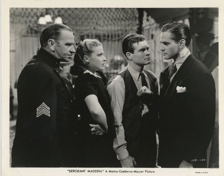 Wallace Beery, Laraine Day, Tom Brown, and Alan Curtis, Sergeant Madden (1939)