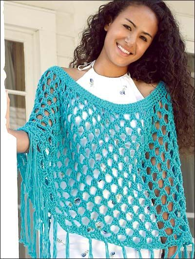 Light & Airy Poncho - Just right for spring - Extra-lacy, extra-easy poncho is made with medium (worsted) weight yarn and size P hook. One size fits most.  Skill Level: Beginner  Designed by Eleanor Shnier  free pdf from freepatterns.com
