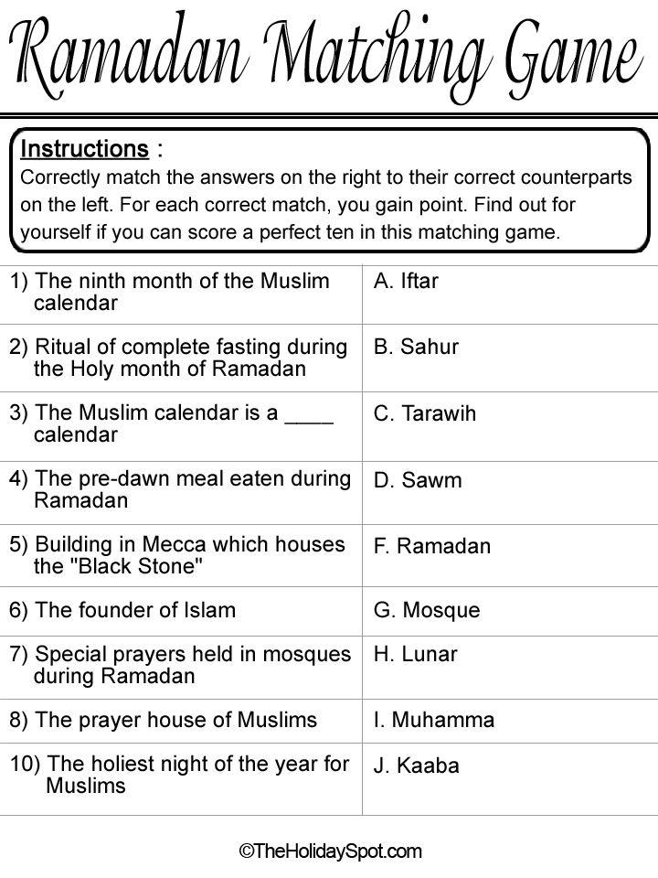 Ramadan Matching Game template