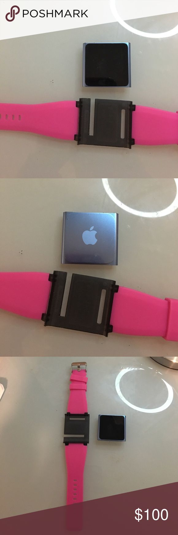 iPod nano / watch NOT APPLE WATCH Oops nano in blue. I don't know the generation of the iPod nano. Pink wrist band to turn the iPod into a watch style.  Does take the old charger. ( iPhone 4 charger ). This was used like 10 times. apple Other