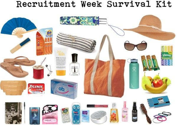 """Recruitment Week Survival Kit"" by catkel3299 on Polyvore"