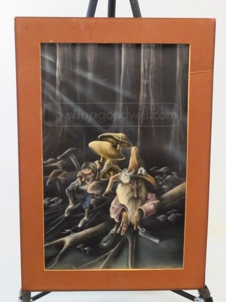 shopgoodwill.com - #38648739 - Air Brush Painting of Forest Gnomes by Ken Dolan - 4/16/2017 6:45:00 PM