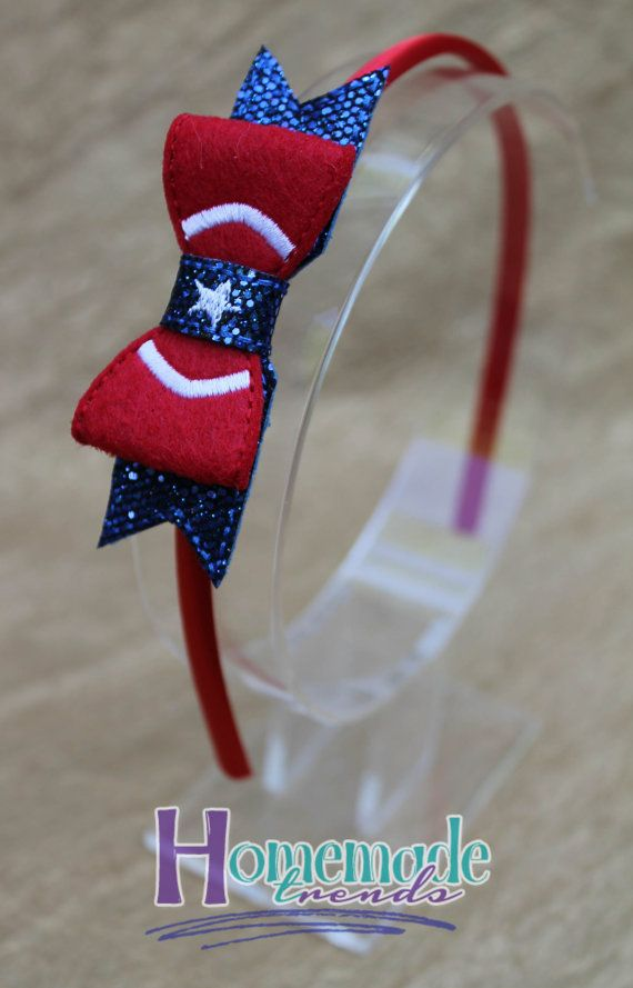 American Hero Hair Accessory-Felt Hero 3D Bow-Captain Hero Hair Bow-Hero Headband-American Hero Headband-American Hero Hair Clip-Comic Book