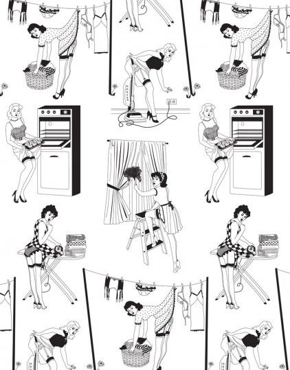50's Housewives Wallpaper from Dupenny | Made By Dupenny | £82.00 | BOUF
