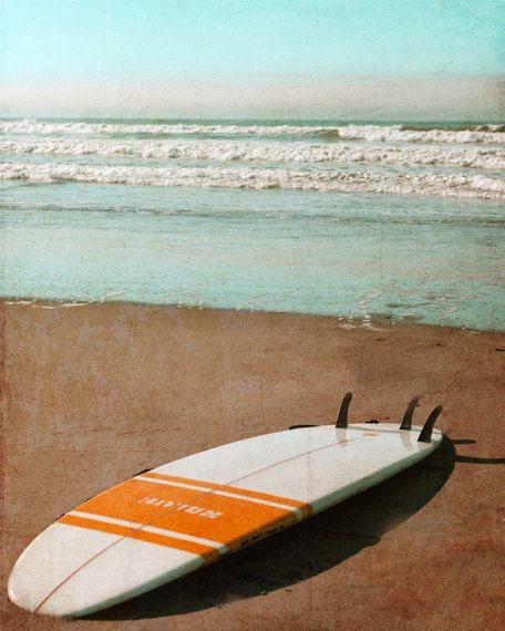 Vintage Surfboard Art Print - Retro Beach Surf Orange White Aqua Surfing Beach House Home Decor Wall Art Photograph. $25,00, via Etsy.