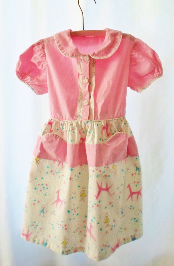 Vintage pink mid century modern pattern cotton girls dress size 6 wh