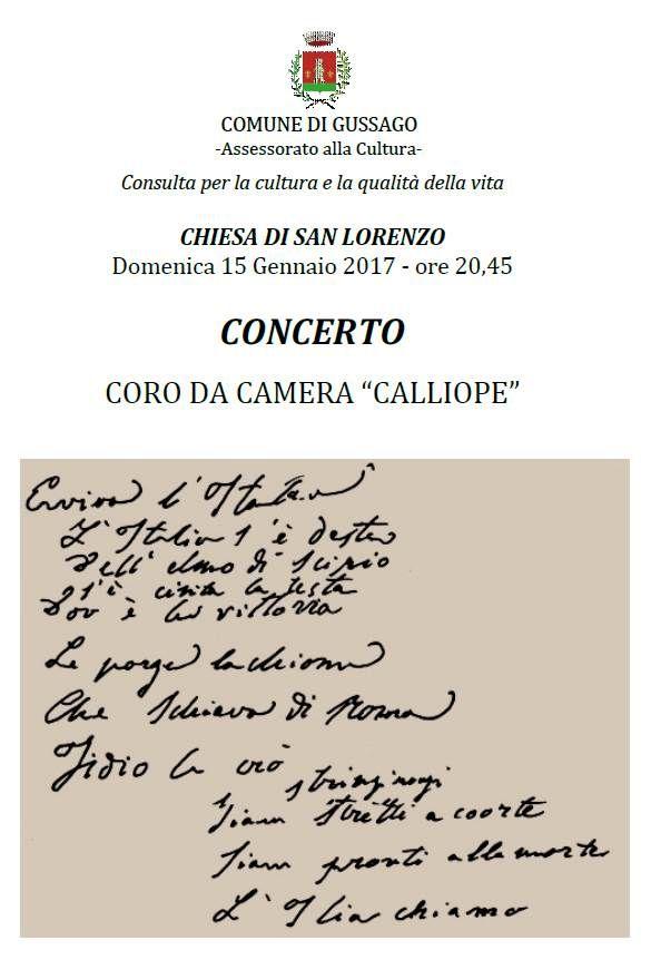 Domenica 15 gennaio concerto Coro da Camera Calliope - http://www.gussagonews.it/concerto-coro-camera-calliope-gennaio-2017/