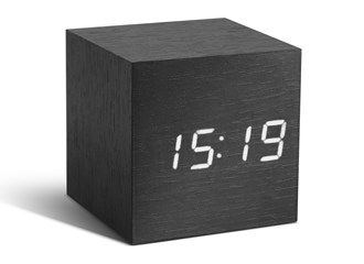 Cube Black Click Clock / White LED