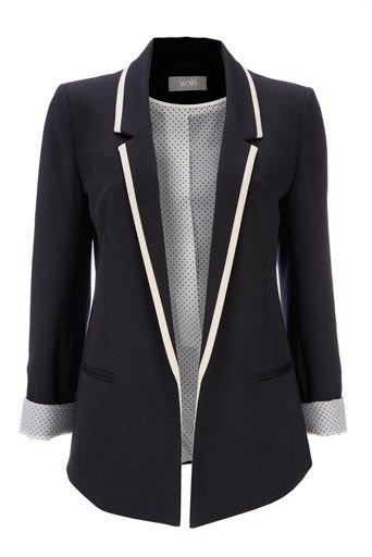 Blue Tipped Ponte Jersey Jacket
