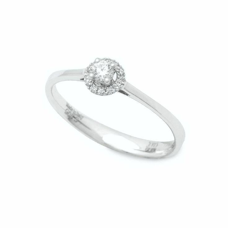 Πολύ κομψό και λεπτό μονόπετρο δαχτυλίδι λευκόχρυσο Κ18 Davite & Delucchi συνδυασμός μονόπετρο με ροζέτα | Δαχτυλίδια ΤΣΑΛΔΑΡΗΣ στο Χαλάνδρι #ροζέτα #διαμάντια #δαχτυλίδι