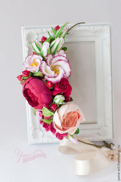 """Купить Свадебный веночек для волос """"Бордовый шик"""" - ободок для волос, ободок с цветами, венок для невесты"""