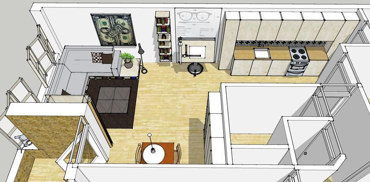 bird eye view of google sketchup plan for redecoration of my