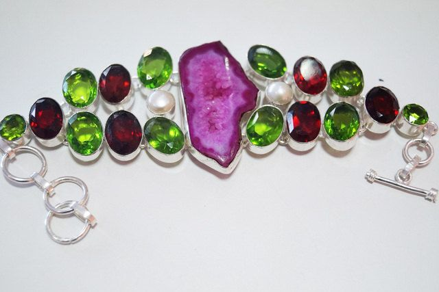 Bracelet with Genuine Druzy Quartz and green, red  Quartz  in German Silver Alloy/Collet handmade  quartz bracelet by Mpoulitsa on Etsy