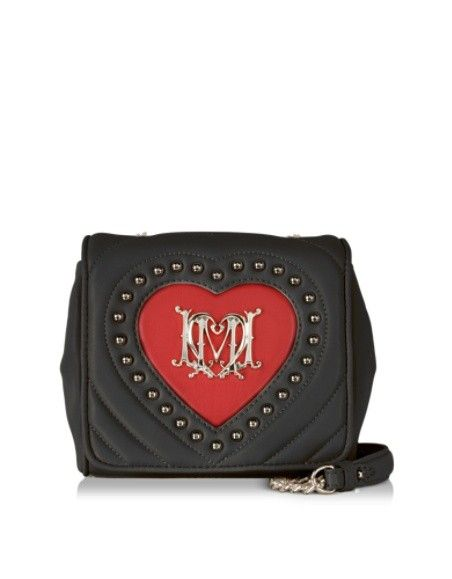 LOVE MOSCHINO BLACK QUILTED & RED HEART ECO LEATHER CROSSBODY BAG