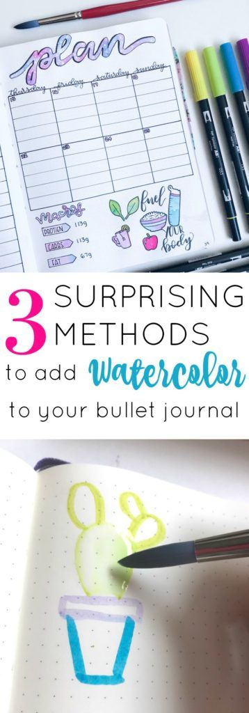 Use 1 of these 3 simple watercolor methods to add beautiful designs and lettering to your bullet journal