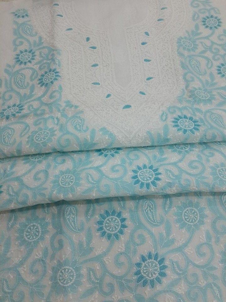 Lucknowi Chikankari Online Kurta Length White cotton with very fine blue chikankari murri, shadow, kangan & applique (daraz) work with designer neckline $36