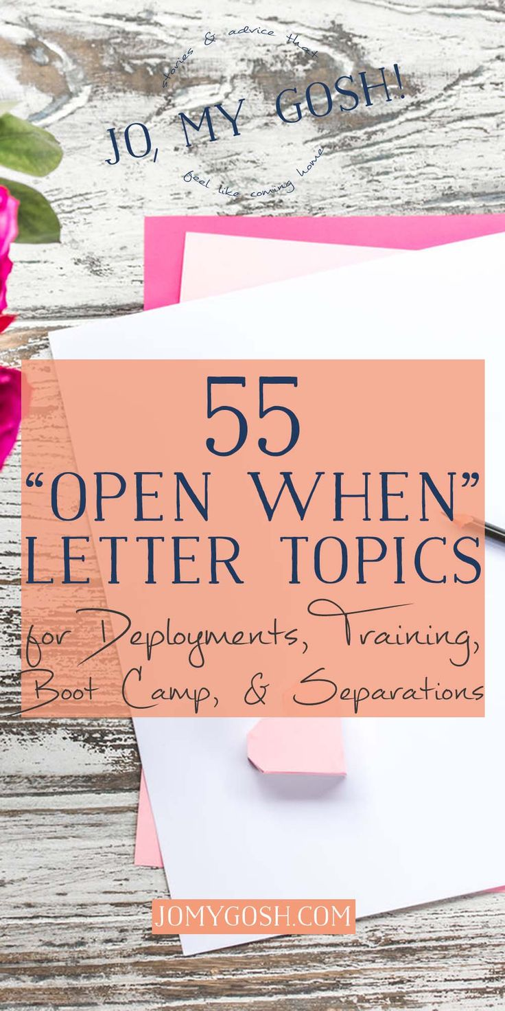 More Open When letter ideas from Jo, My Gosh! Keeping these for later, to make deployment packages easier.