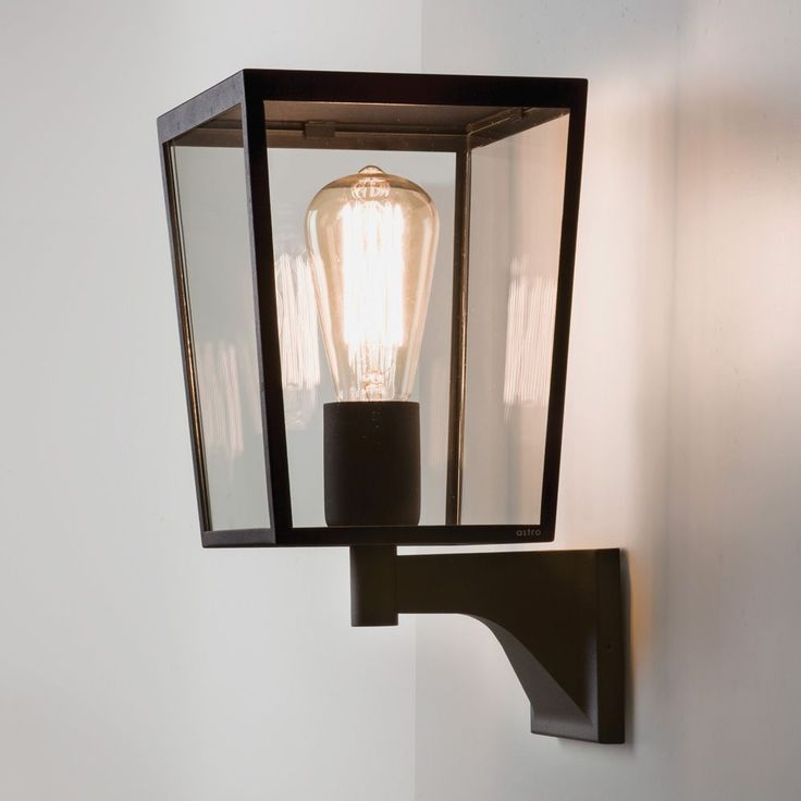 Modern Exterior Wall Mounted Lights : Wall Mounted Lights - The Farringdon Black Exterior Wall Light with Clear Glass. This light has ...